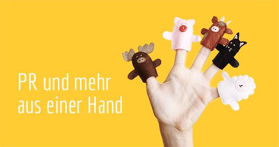 PR und mehr aus einer Hand (mit fünf verschiedenen Fingerpuppen)