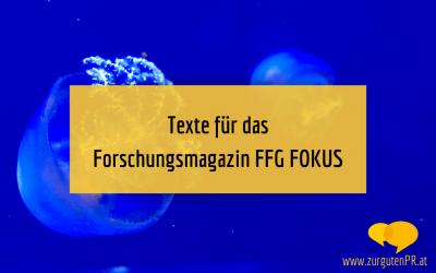 Texte für Forschungsmagazin FFG FOKUS