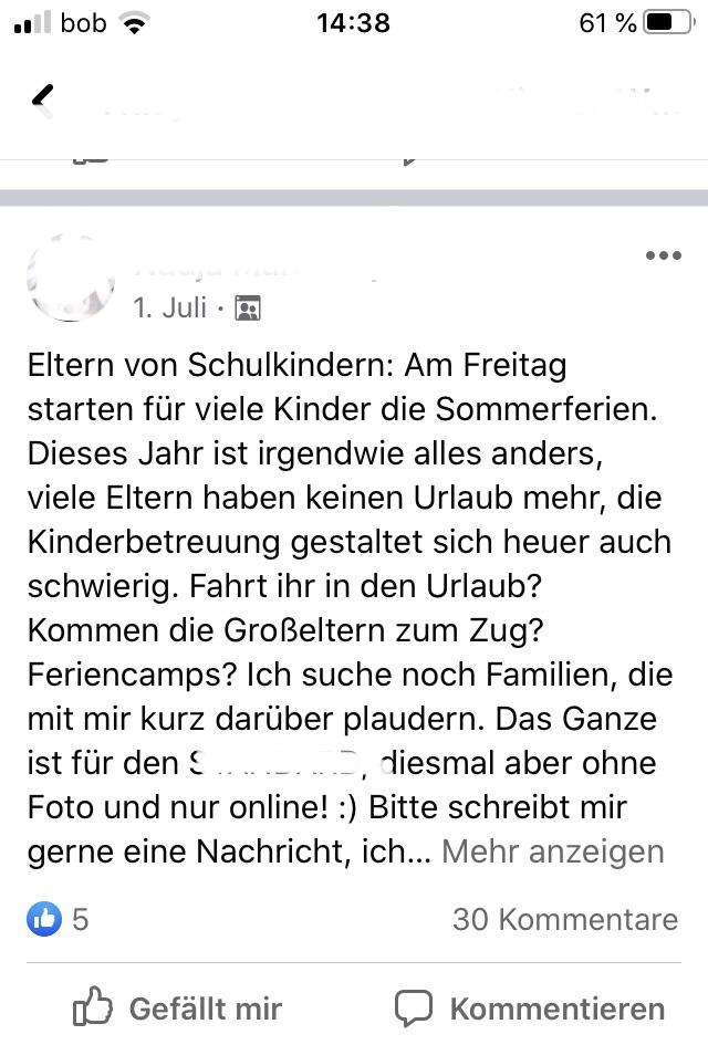 Eine Journalistin such auf Facebook nach InterviewpartnerInnen.